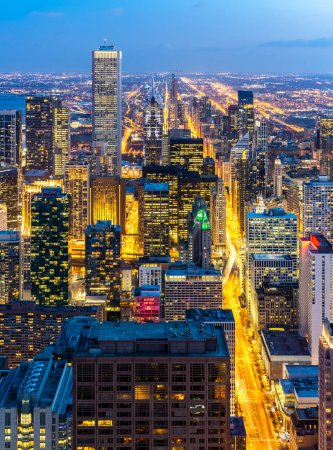 Photo for Aerial view of Chicago Skylines building at Chicago downtown in Chicago City Illinois USA. Looking to the south of Chicago. - Royalty Free Image