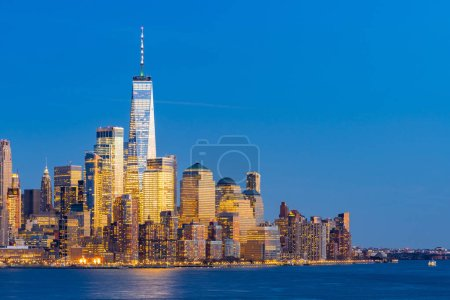 Photo for Aerial view of New York city Manhattan skyline cityscape at dusk from New Jersey. - Royalty Free Image