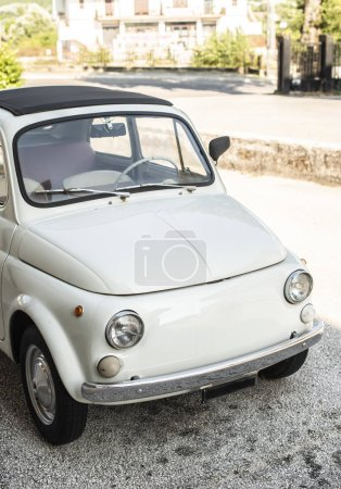 Photo for Small italian vintage car. White car. - Royalty Free Image