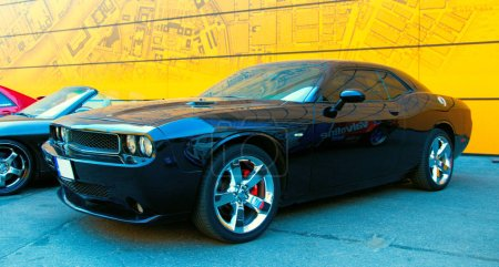Black American muscle car Dodge