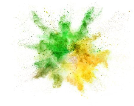 Explosion of coloured powder isolated on white background. Abstract background in high resolution.