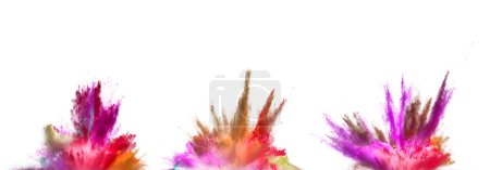 Photo for Explosions of coloured powder isolated on white background. Abstract colored background - Royalty Free Image