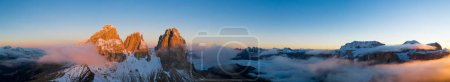Photo for Beautiful Dolomites peaks panoramic view. Aerial wide format Photography of Italian rocky landscape - Royalty Free Image
