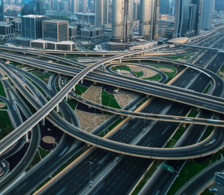 Photo for Detail of highway crossroad in Dubai. Dubai is super modern city of UAE, cosmopolitan megalopolis. - Royalty Free Image