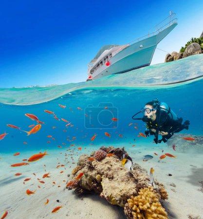 Photo pour Vue sous et au-dessus de la surface de l'eau de la femme plongeuse. Faune et flore sous-marines, vie marine et île exotique avec yacht d'ancrage sur fond - image libre de droit