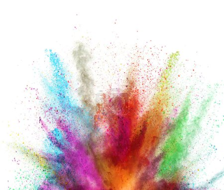 Photo for Multi colored powder explosion isolated on white background. Freeze motion of abstract dust texture. - Royalty Free Image