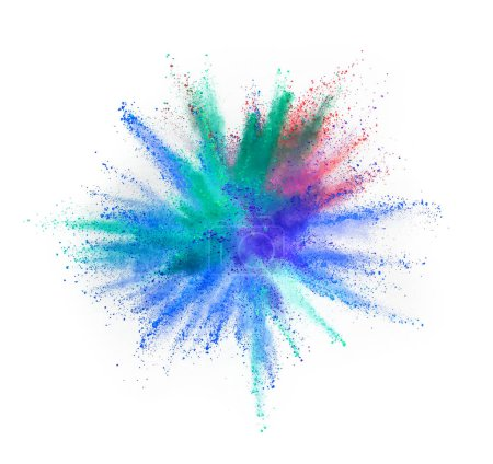Photo for Explosion of colored powder isolated on white background. Abstract colored background - Royalty Free Image