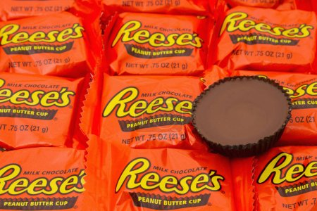 Photo for Editorial use only Reeses Peanut Butter Cup Candy Background - Royalty Free Image