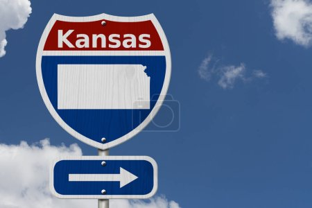 Photo for Road trip to Kansas, Red, white and blue interstate highway road sign with word Kansas and map of Kansas with sky background - Royalty Free Image