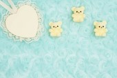 Wood heart with lace and teddy bears on pale teal rose plush fab