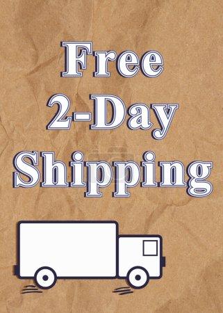 Photo pour Free 2 Day Expédition type message sur papier d'emballage ridé brun affligé - image libre de droit