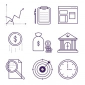Money and bank symbols object vector outline icons