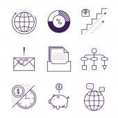 Money and analytics symbols object vector outline icons