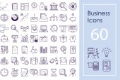 Business icon big set Vector outline icons for website apps and presentations