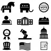 US elections and voting icon set