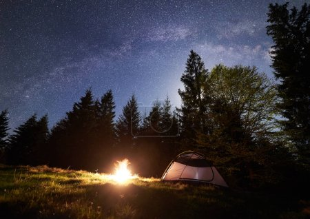 Night camping in mountains. Tourist tent by brightly burning campfire near forest under clear dark blue starry sky, Milky way. High pine trees on background. Beauty of nature and tourism concept.