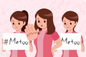 Me too on women hand and hold placard on the pink background