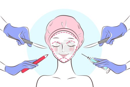Illustration for The cartoon beauty  face cosmetic surgery concept - Royalty Free Image