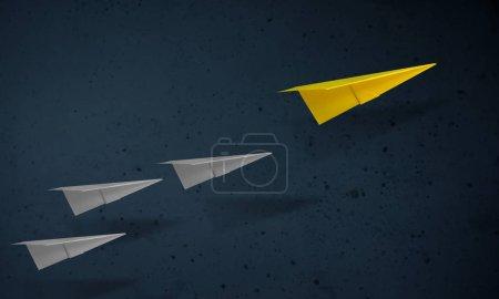 Photo pour Concept de leadership. Avion en papier unique menant l'autre. Buts et succès en affaires - image libre de droit