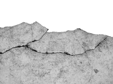 Photo for Cracked Cement Wall Isolatedon White Background with Clipping Path - Royalty Free Image