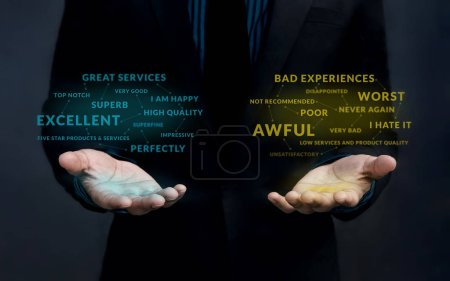 Customer Experience Strategy Concept. Positive and Negative Online Review Floating over Businessman's Hands to Measurement and Analysis