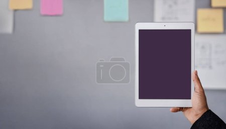 Photo for Partial view of businessman holding tablet with blank screen - Royalty Free Image