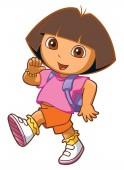 dora the explorer walking going school backpack illustration