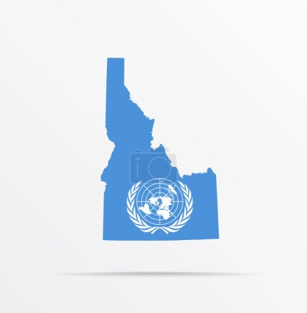 Illustration for Vector map State of Idaho combined with United Nations flag. - Royalty Free Image