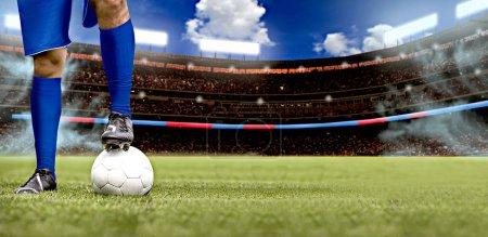 Photo pour Joueur de soccer ou de football sur le terrain - image libre de droit