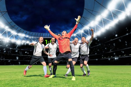 Photo for Scenes from a soccer or football game with cheering male player - Royalty Free Image