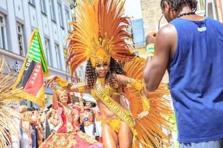 COBURG, GERMANY - JULY 10, 2016: An unidentified samba dancer participates at the annual samba festival in Coburg, Germany
