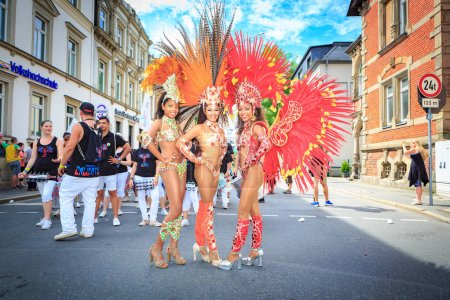 COBURG, GERMANY - JULY 10, 2016: The unidentified samba dancers participates at the annual samba festival in Coburg, Germany