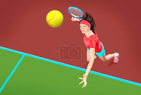 Photo for A female tennis player in action on the court - Royalty Free Image