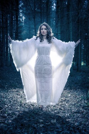 the outdoor portrait of a young mystic woman in a forest. Book cover style.