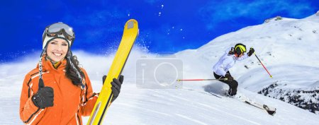 Ski drivers on the piste in Alps