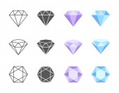 Collection of colorful and black and white vector icons of Diamonds Side three quarters and top view of four solutions of coloring