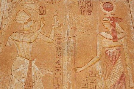 Photo pour Scène égyptienne ancienne, mythologie. Dieux égyptiens et pharaons . - image libre de droit