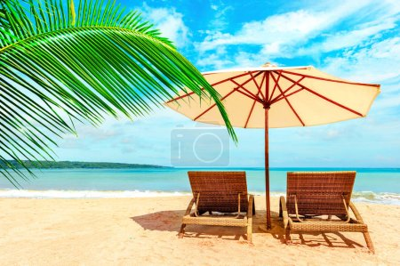 Photo for Chairs on the tropical beach near sea, Thailand. Holidays Background. - Royalty Free Image