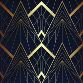 Abstract art deco seamless blue and golden pattern 05