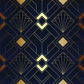 Abstract art deco seamless blue and golden pattern 01
