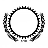 Logo with bicycle chainring and decoration leaves Place for text