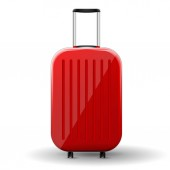 Vector red glossy travel baggage isolated on white backgraund