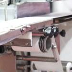 Empty conveyor belt for food industry ; close up...