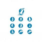 set of yatch and ship logo
