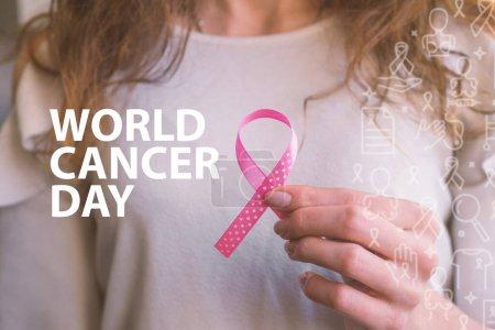 Journée mondiale du cancer ruban rose du cancer, cancer du sein, mois de sensibilisation, phrases d'espoir