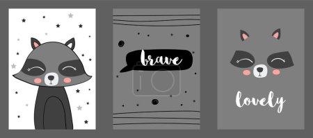 Photo pour Mignon imprimé vectoriel skunk dans un style scandinave. Ensemble d'illustrations vectorielles dessinées à la main pour cartes, affiches, cartes, t-shirts, livres, textiles . - image libre de droit