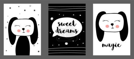Photo pour Mignon imprimé vectoriel de lapin dans un style scandinave. Ensemble d'illustrations vectorielles dessinées à la main pour cartes, affiches, cartes, t-shirts, livres, textiles . - image libre de droit