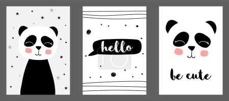 Photo pour Mignon imprimé vectoriel panda dans un style scandinave. Ensemble d'illustrations vectorielles dessinées à la main pour cartes, affiches, cartes, t-shirts, livres, textiles . - image libre de droit