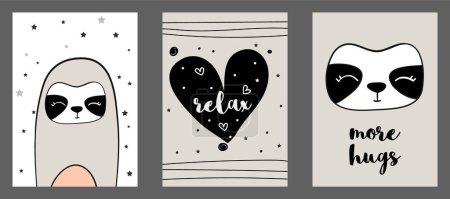 Photo pour Mignon imprimé vectoriel paresseux dans un style scandinave. Ensemble d'illustrations vectorielles dessinées à la main pour cartes, affiches, cartes, t-shirts, livres, textiles . - image libre de droit