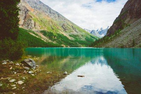 Photo pour Végétation riche de hautes terres contre lac de montagne contre. Magnifiques montagnes enneigées géantes reflétées dans l'eau. Le ruisseau coule du glacier. Paysage atmosphérique incroyable de nature majestueuse . - image libre de droit